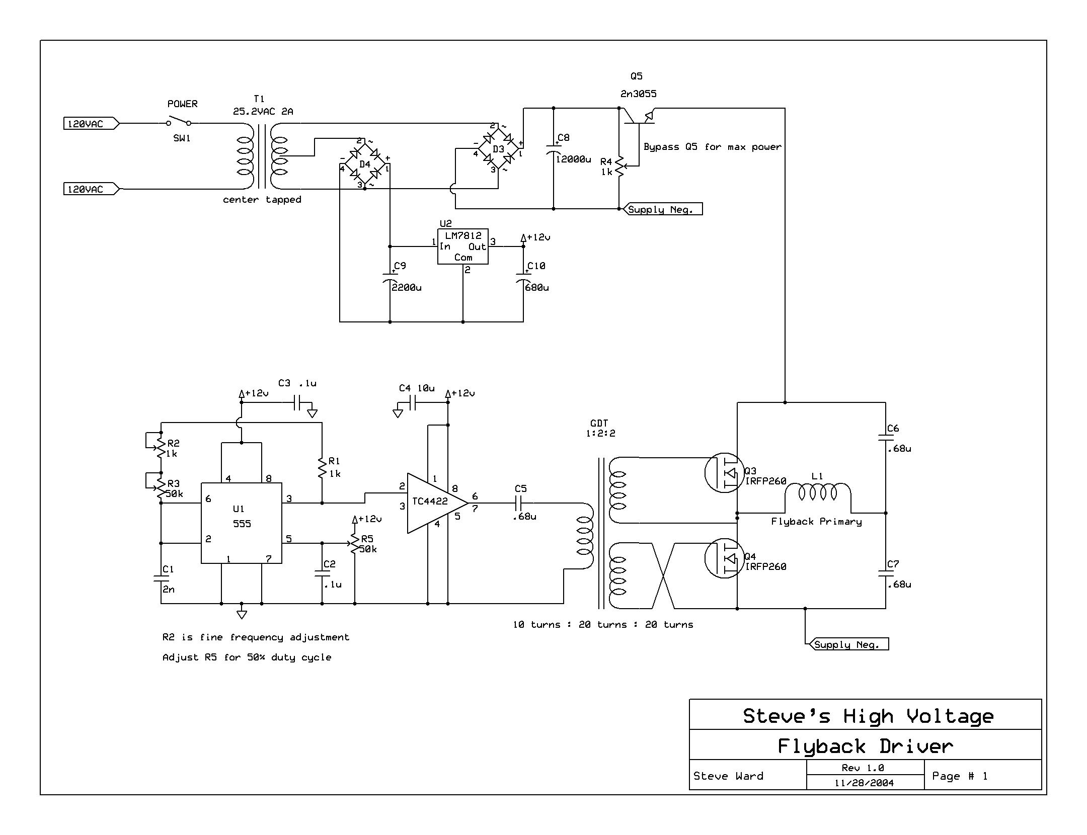High Voltage Radiation Detection Oscillator 555 50 Duty Cycle Circuit Schematic Diagram Its A Classic With An Integrated Driver Which I Replaced Couple Transistors And Half Bridge